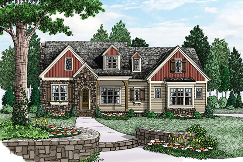 European Exterior - Front Elevation Plan #927-974