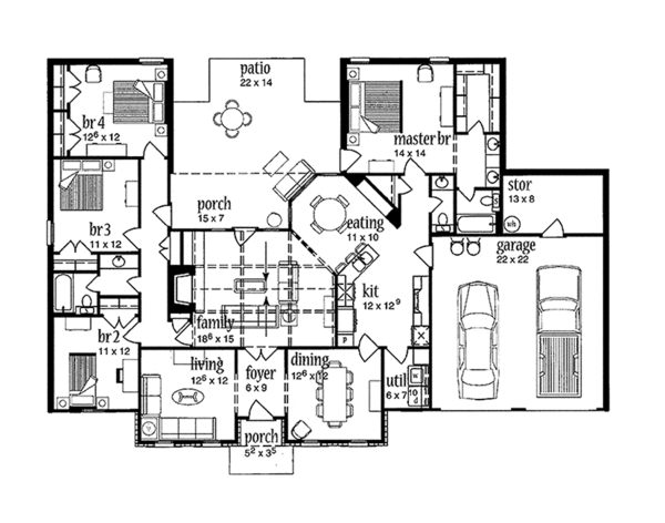 Architectural House Design - Colonial Floor Plan - Main Floor Plan #36-562