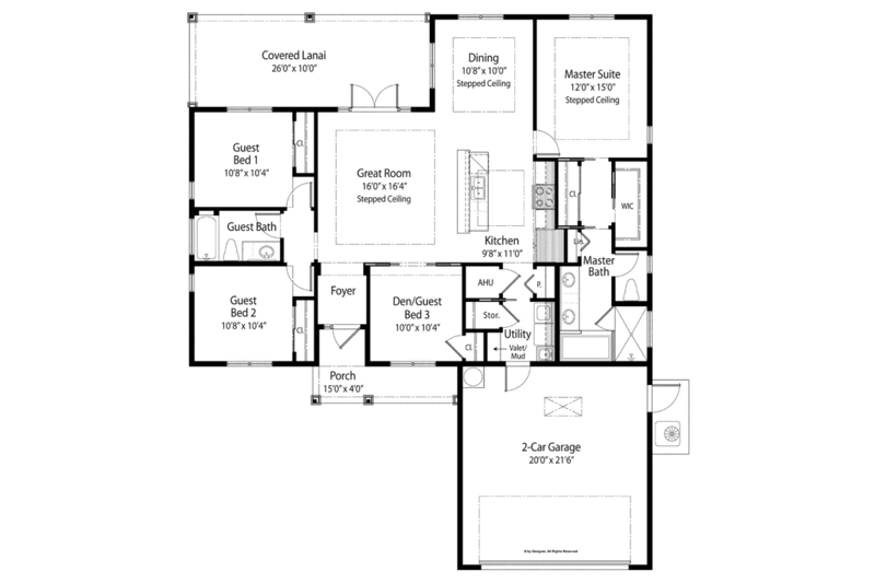 Country Floor Plan - Main Floor Plan Plan #938-71