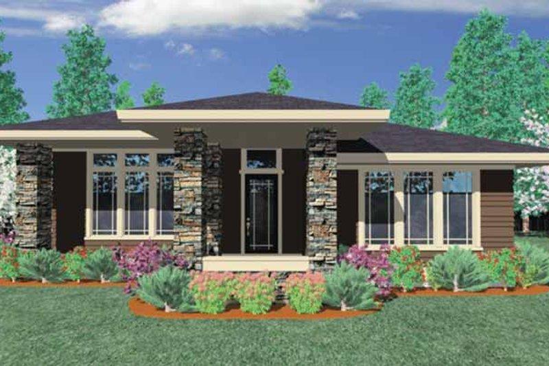 Prairie Exterior - Front Elevation Plan #509-412