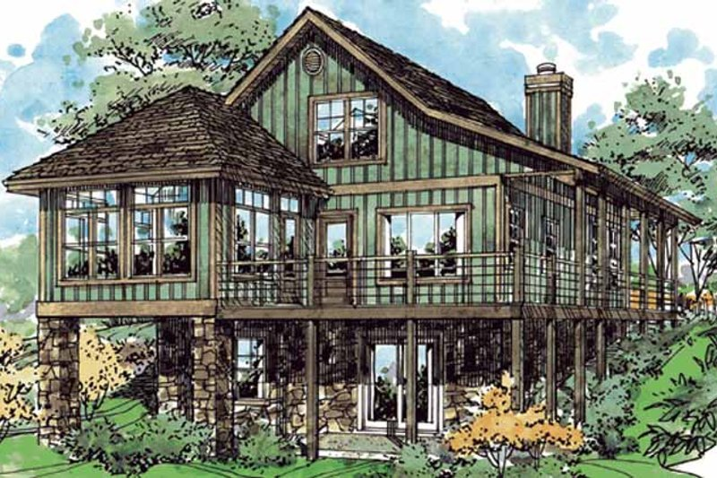 Country Exterior - Rear Elevation Plan #970-8 - Houseplans.com