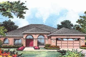 Home Plan - Mediterranean Exterior - Front Elevation Plan #1015-14