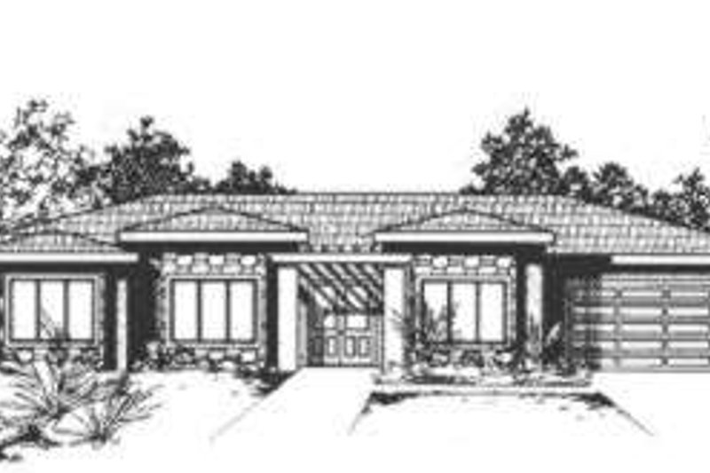 Modern Style House Plan - 3 Beds 2 Baths 2439 Sq/Ft Plan #24-182 Exterior - Front Elevation