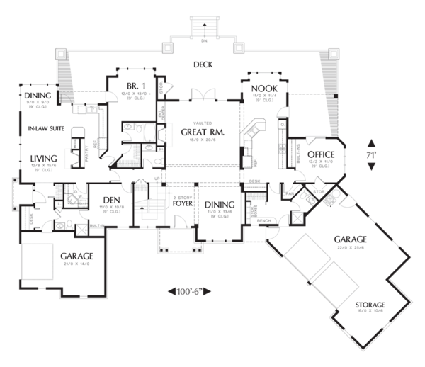 Craftsman Floor Plan - Main Floor Plan Plan #48-353