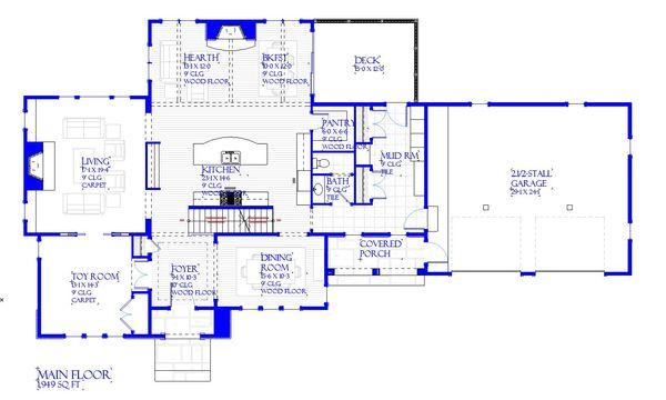 European Style House Plan - 3 Beds 2.5 Baths 3546 Sq/Ft Plan #901-143 Floor Plan - Main Floor Plan