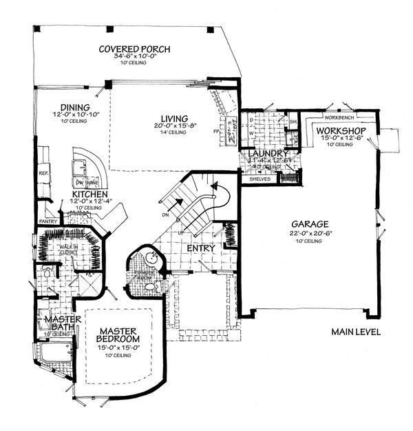 Contemporary Floor Plan - Main Floor Plan Plan #942-55