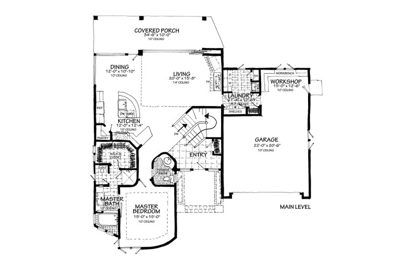 Contemporary Floor Plan - Main Floor Plan Plan #942-55
