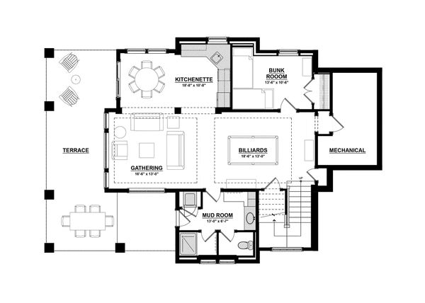 Traditional Floor Plan - Lower Floor Plan Plan #928-11