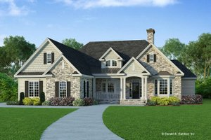 Perfect Signature Ranch Exterior   Front Elevation Plan #929 750