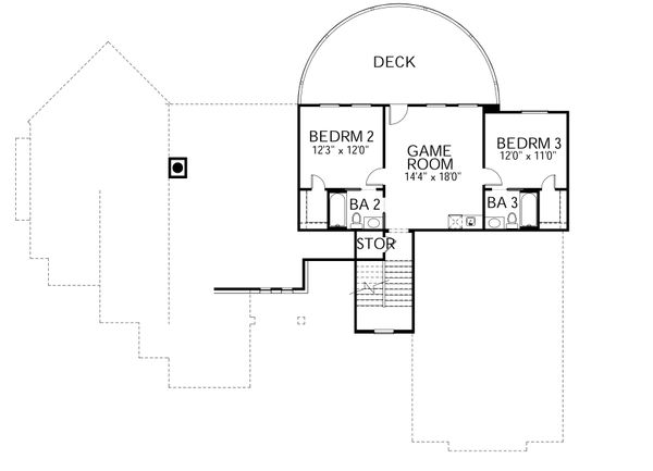 Mediterranean Floor Plan - Upper Floor Plan Plan #80-141