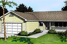 Ranch Exterior - Front Elevation Plan #91-103