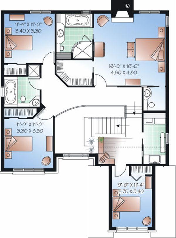 European Floor Plan - Upper Floor Plan Plan #23-816