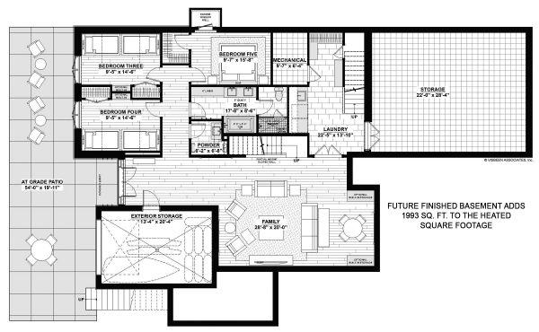 House Plan Design - Contemporary Floor Plan - Lower Floor Plan #928-345