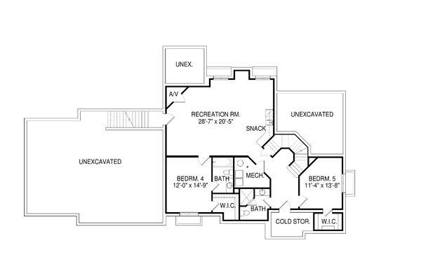 Traditional Floor Plan - Lower Floor Plan Plan #920-82