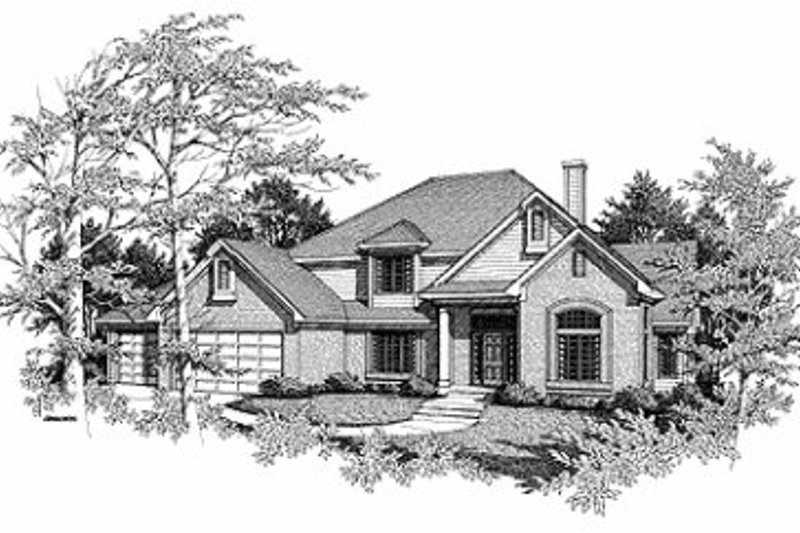 Traditional Style House Plan - 3 Beds 2.5 Baths 2650 Sq/Ft Plan #70-424 Exterior - Front Elevation