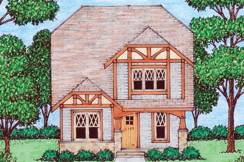 Tudor Exterior - Front Elevation Plan #413-911