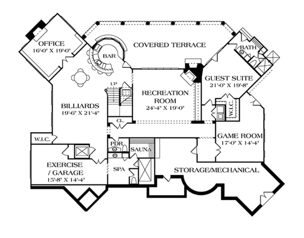 House Plan Design - Mediterranean Floor Plan - Lower Floor Plan #453-617