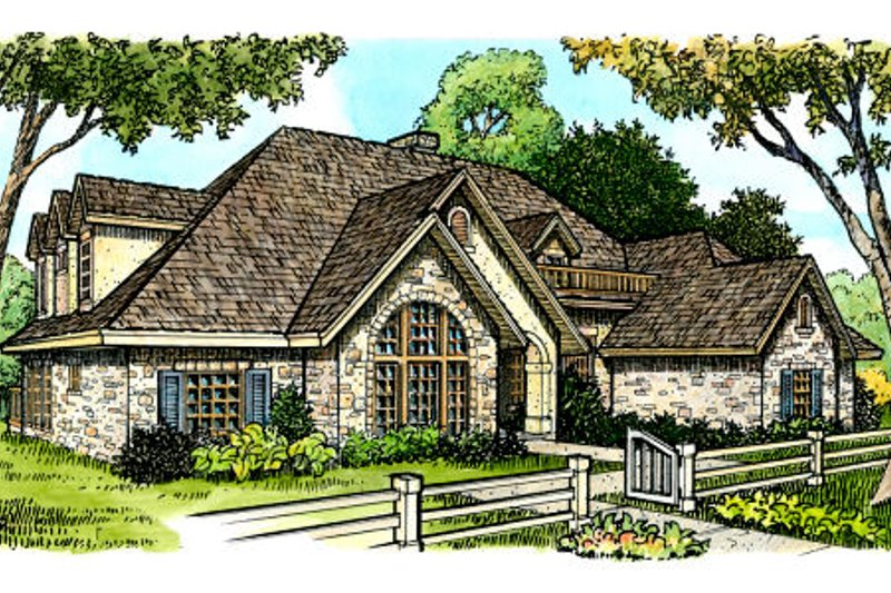 European Style House Plan - 4 Beds 3.5 Baths 4720 Sq/Ft Plan #140-114 Exterior - Front Elevation