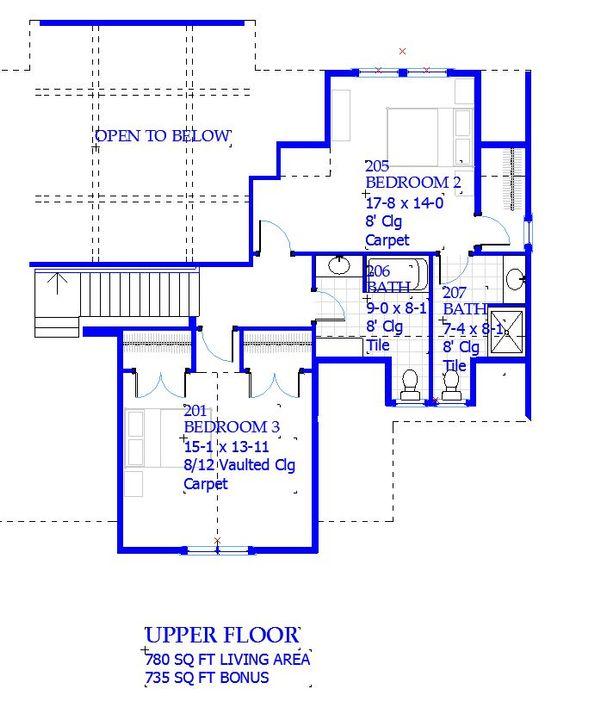 Traditional Floor Plan - Upper Floor Plan Plan #901-137