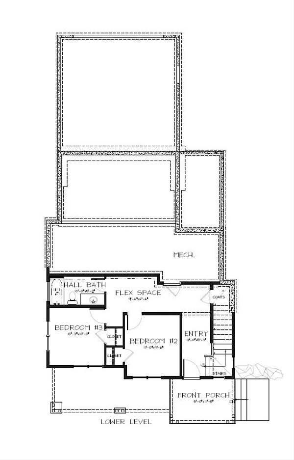 Craftsman Floor Plan - Lower Floor Plan Plan #895-89