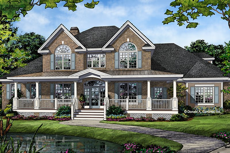 Traditional Style House Plan - 4 Beds 3.5 Baths 3133 Sq/Ft Plan #929-1017 Exterior - Front Elevation