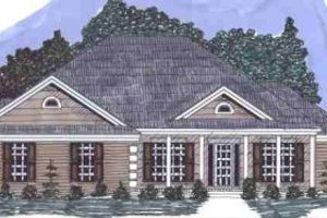 Southern Exterior - Front Elevation Plan #69-150