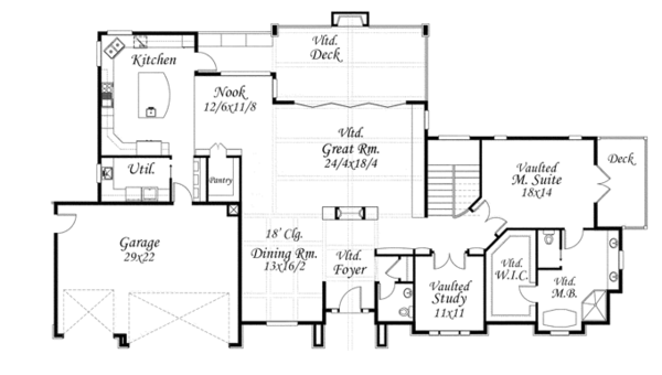 Craftsman Floor Plan - Main Floor Plan Plan #509-432