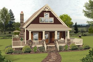 Country, Cottage, Front Elevation