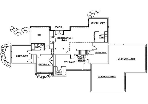 Ranch Floor Plan - Lower Floor Plan Plan #5-387
