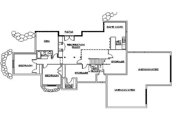 Ranch Floor Plan - Lower Floor Plan Plan #5-387