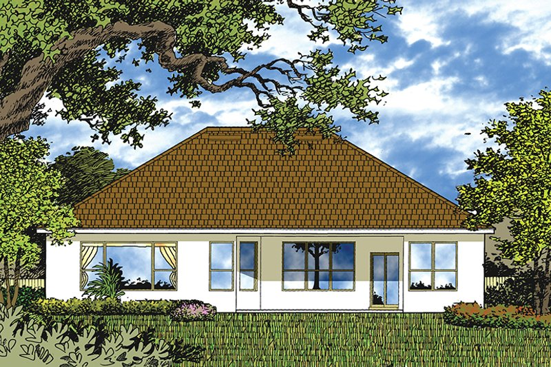 Mediterranean Exterior - Rear Elevation Plan #417-831 - Houseplans.com