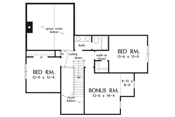 Bungalow Floor Plan - Upper Floor Plan Plan #929-38