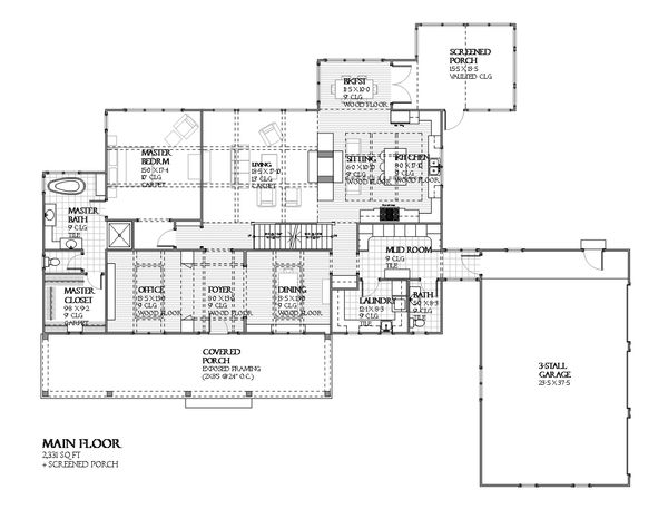 Country Floor Plan - Main Floor Plan Plan #901-112