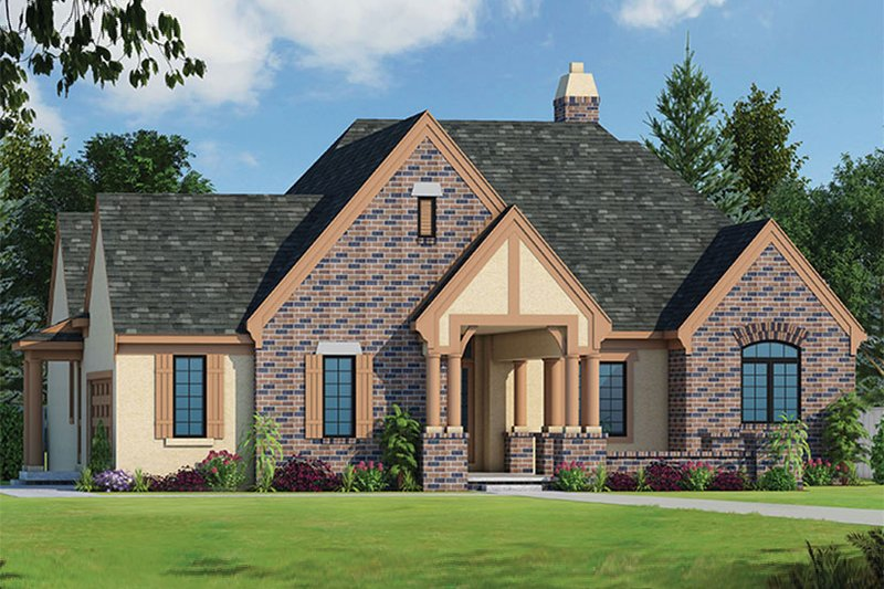 Architectural House Design - European Exterior - Front Elevation Plan #20-2251