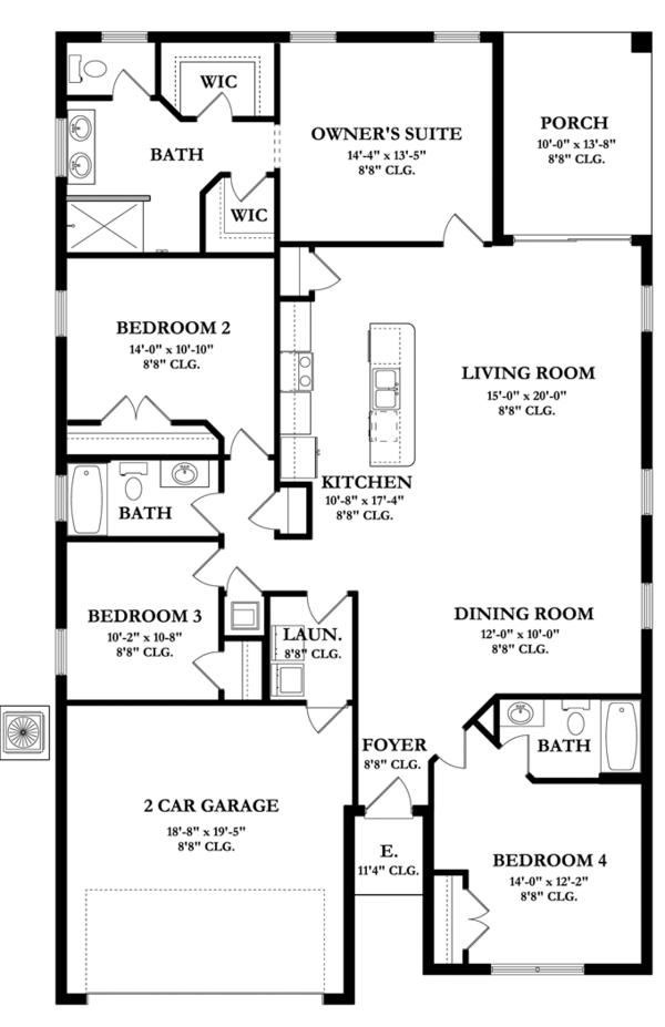 Mediterranean Floor Plan - Main Floor Plan Plan #1058-58