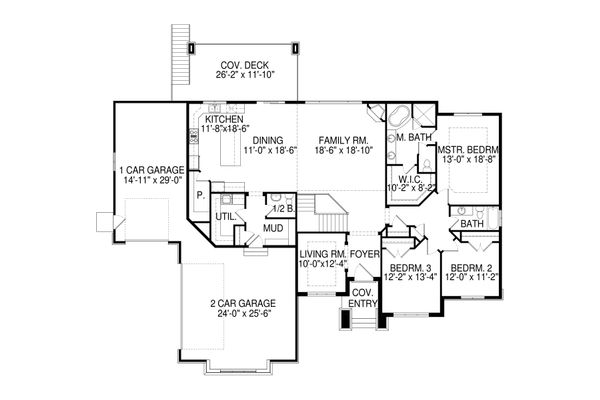 Contemporary Floor Plan - Main Floor Plan Plan #920-93