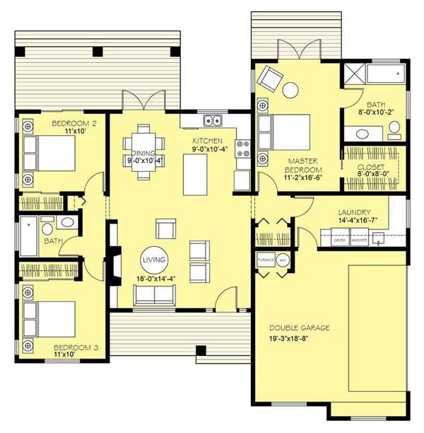 Ranch Floor Plan - Main Floor Plan Plan #18-9547