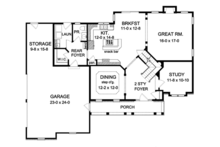 Colonial Floor Plan - Main Floor Plan Plan #1010-60