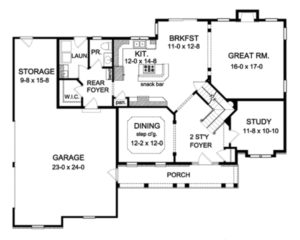 Colonial Floor Plan - Main Floor Plan Plan #1010-60