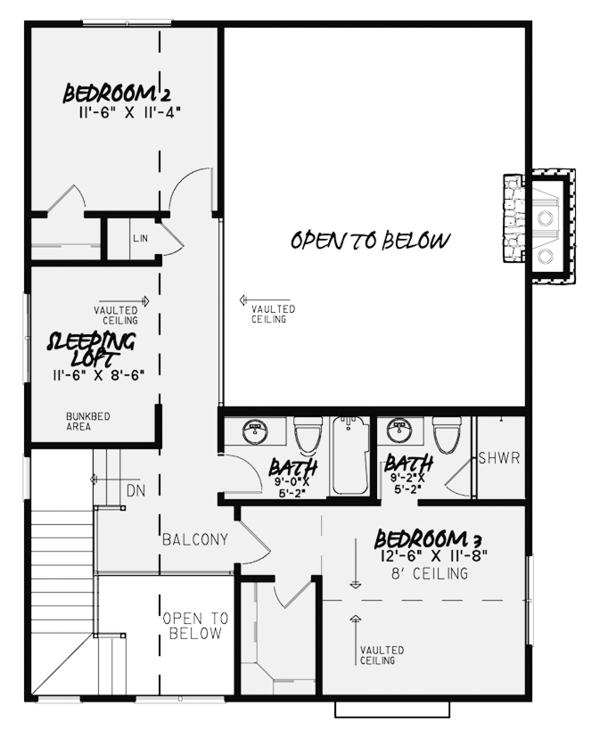 Country Floor Plan - Upper Floor Plan #17-3380