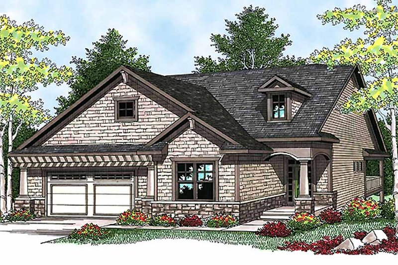 Craftsman Style House Plan - 2 Beds 2 Baths 1580 Sq/Ft Plan #70-912 Exterior - Front Elevation