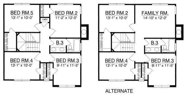 Traditional Floor Plan - Upper Floor Plan #40-385