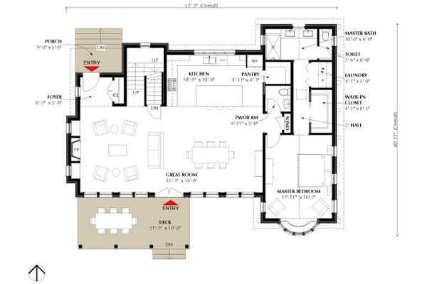 Traditional Floor Plan - Main Floor Plan Plan #933-3