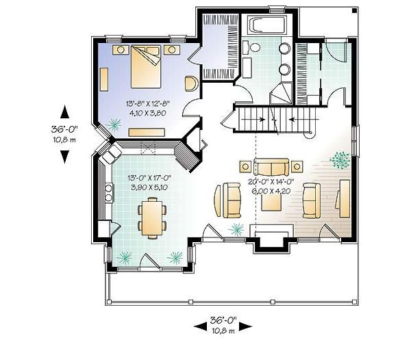 House Plan Design - Cottage Floor Plan - Main Floor Plan #23-760