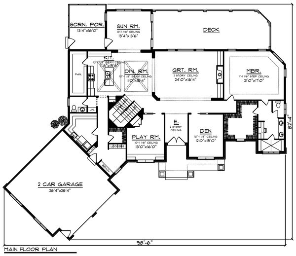 Craftsman Floor Plan - Main Floor Plan Plan #70-1233