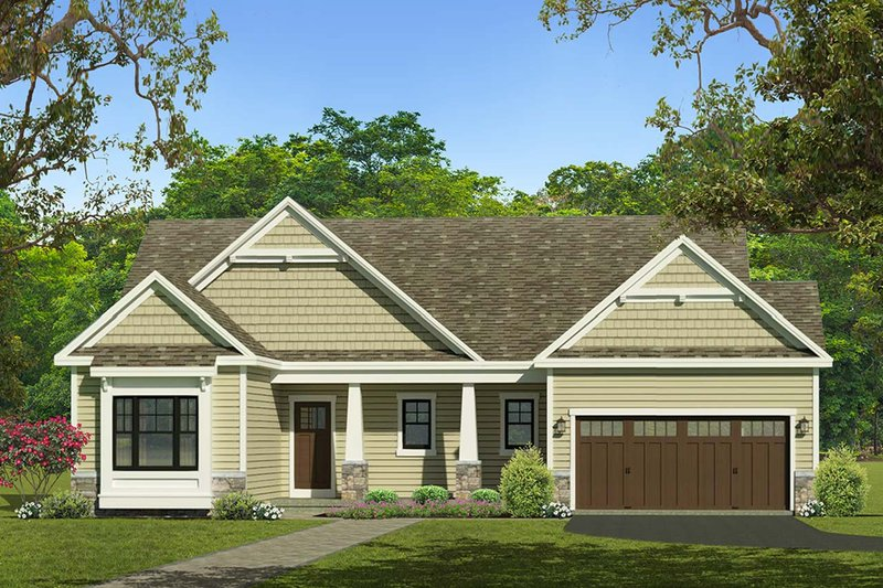 Ranch Style House Plan - 3 Beds 2 Baths 1737 Sq/Ft Plan #1010-221 Exterior - Front Elevation
