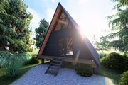 Cabin Style House Plan - 1 Beds 1 Baths 593 Sq/Ft Plan #549-30 Exterior - Rear Elevation