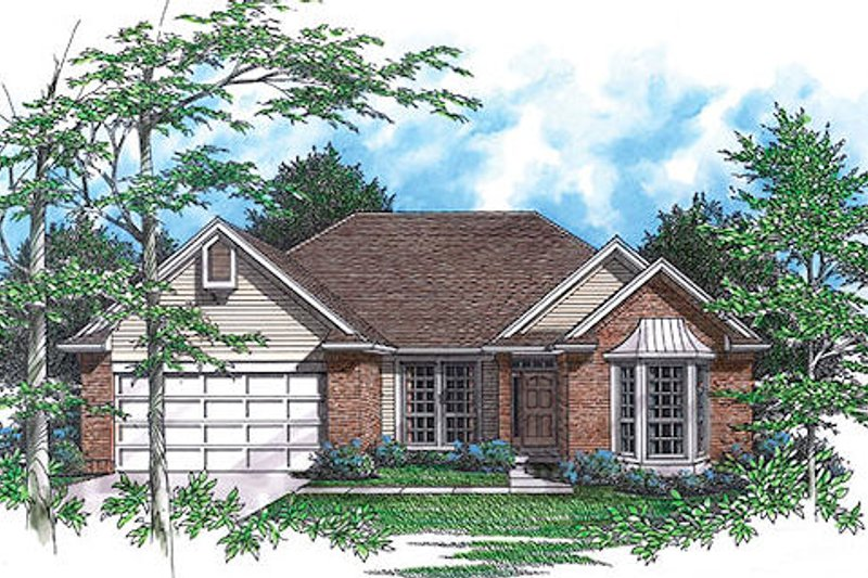 Southern Exterior - Front Elevation Plan #48-416