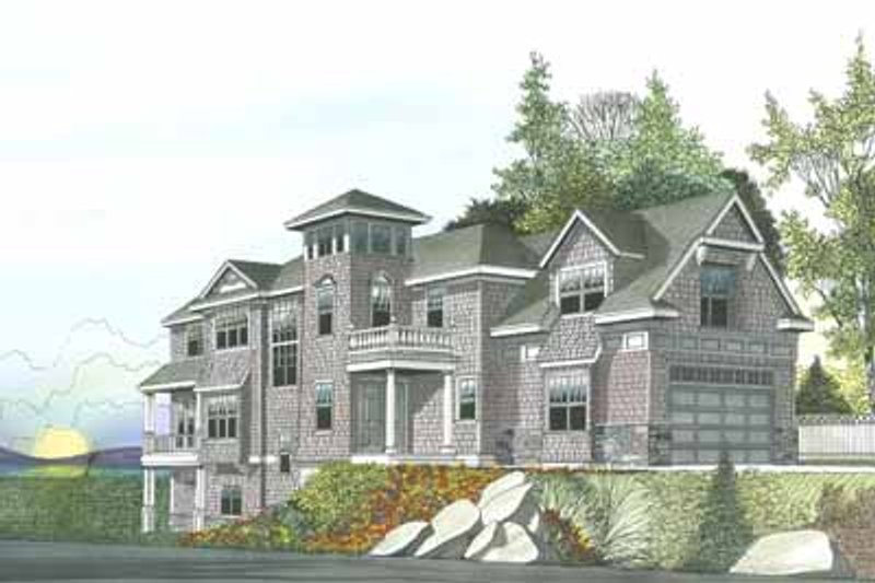 Beach Style House Plan - 4 Beds 4.5 Baths 4702 Sq/Ft Plan #103-206 Exterior - Front Elevation