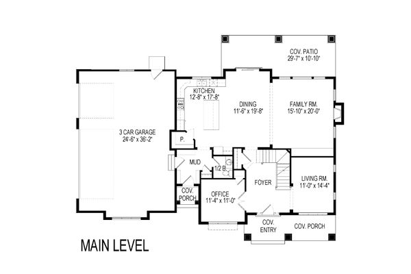 Craftsman Floor Plan - Main Floor Plan Plan #920-58